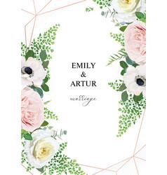 stylish elegant floral art wedding invitation vector image