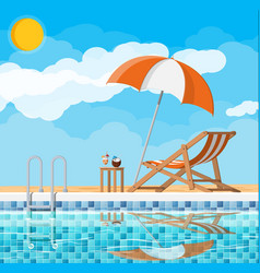 Swimming pool and lounger vector