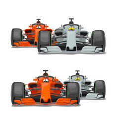 Two cars overtake front view flat vector