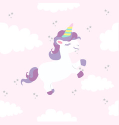 Unicorn with rainbows in colored pastel pattern vector