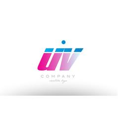 Uv u v alphabet letter combination pink blue bold vector