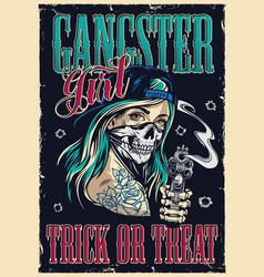 Vintage gangster colorful poster vector