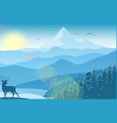 Winter mountain landscape with falling snow vector