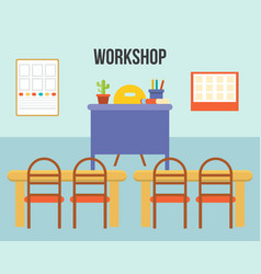 workshop concept empty classroom or study room vector image