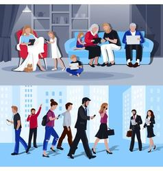 People with gadgets 2 flat banners vector