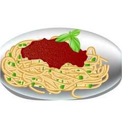 plate of spaghetti vector image