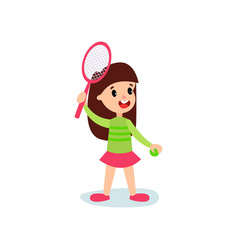 smiling little girl character playing tennis or vector image