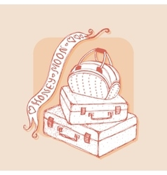 Suitcases and bag with ribbons Honeymoon vector image