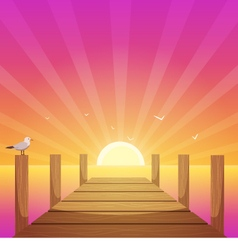 Sunset At Pier vector image