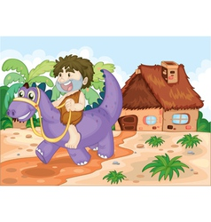 a boy riding on dinosaur vector image vector image