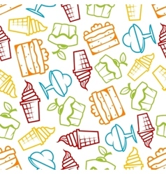Cakes and ice cream seamless pattern vector image vector image