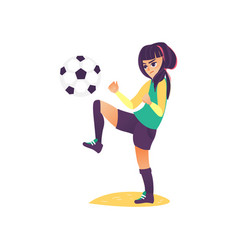 cartoon girl character playing football vector image vector image