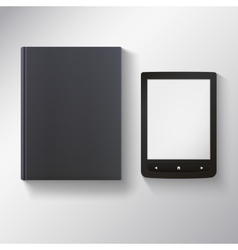 E-book with blank black book vector image