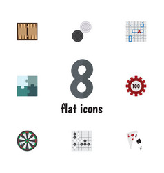 flat icon play set of sea fight poker gomoku and vector image vector image