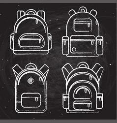 school backpacks set of white chalk sketched vector image