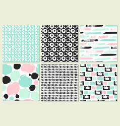 set of seamless pattern with brush strokes vector image