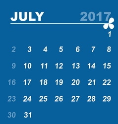 Simple calendar template of july 2017 vector image