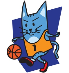 Cat playing basketball vector image vector image
