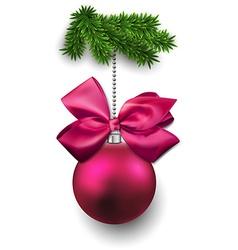 Christmas ball on fir twigs vector image vector image
