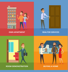 happy family buying real estate buildings vector image