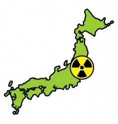 radiation sign on Japanese map vector image vector image