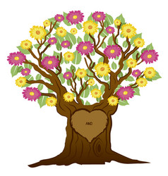 tree with heart and initials vector image vector image