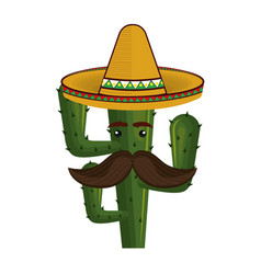 animated cartoon cactus with mexican hat and vector image