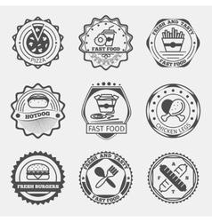 Fast food emblems logo or labels set vector image