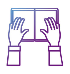 hands reader with text book school icon vector image