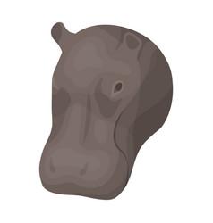hippopotamus icon in cartoon style isolated on vector image