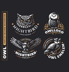 owl logo set- emblem design vector image