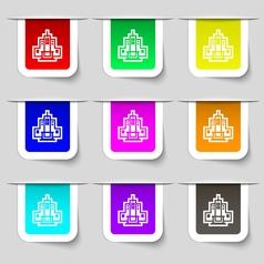 skyscraper icon sign Set of multicolored modern vector image