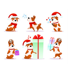 xmas flat puppy emoji collection vector image