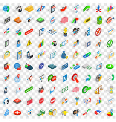 100 management icons set isometric 3d style vector image