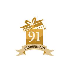91 years gift box ribbon anniversary vector