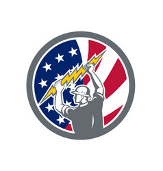 american electrician usa flag icon vector image