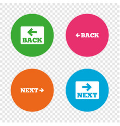 back and next navigation signs arrow icons vector image