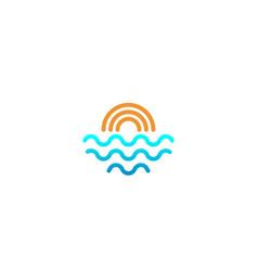 Beach sunset logo design icon element sunset logo vector