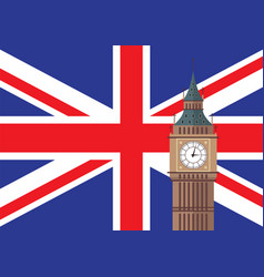 Big ben with united kingdom flag background vector