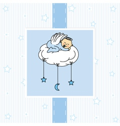 Birth card baby boy vector image vector image