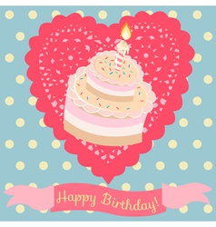 Birthday cake and lace heart vector