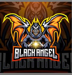 black angel esport mascot logo design vector image