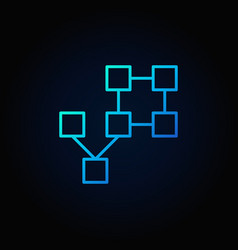 Blockchain technology concept blue line icon vector
