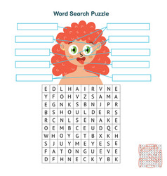 body parts word search puzzle educational game vector image