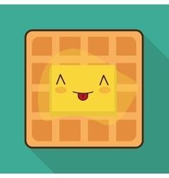 Breakfast design Kawaii waffle icon vector
