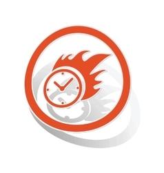 Burning clock sign sticker orange vector