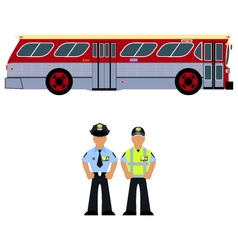 bus and the bus driver vector image