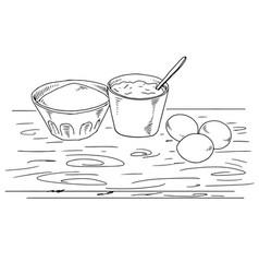 Cake-ingredient-elements-line-art vector