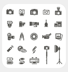Camera icons and accessories icons set vector
