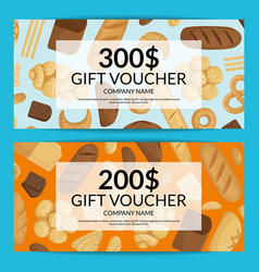 Cartoon bakery discount or gift voucher vector